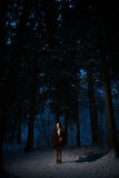 Girl alone in the woods Royalty Free Stock Photo