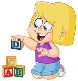 Girl with alphabet blocks Stock Photos