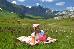 Girl in an Alpine meadow Stock Photography