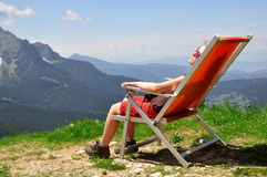 Girl in Alps. Relaxation in the Italian Alps Royalty Free Stock Photo
