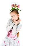 The girl  with an alstromeriya in hair Stock Photos