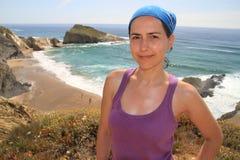 Girl and Alteirinhos beach royalty free stock photos