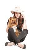 Girl with amall funny dog Stock Photo