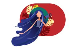 Girl with amazing long hair blowing dry. Young woman with beautiful hairstyle drying locks on red background with leaves monstera. Vector illustration flat stock illustration