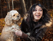 Girl and american cocker spaniel Stock Photo