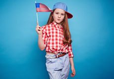 Girl with American flag Royalty Free Stock Image