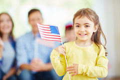 Girl with American flag Royalty Free Stock Photos