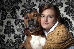 Girl with American Staffordshire Terrier Stock Photos