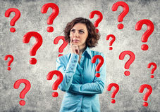 Free Girl Among Questions Royalty Free Stock Image - 29786646