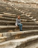 Girl in the amphitheater Royalty Free Stock Photos