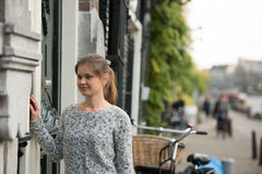 Girl in Amsterdam Royalty Free Stock Photography