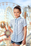 Girl in the amusement park Royalty Free Stock Image