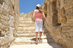 Girl among ancient ruinesin Cyprus Stock Photos
