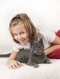 Girl And A Cat Stock Image