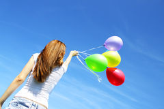Girl And Balloons Royalty Free Stock Image