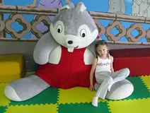 Girl And Big Bunny Royalty Free Stock Images