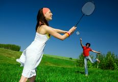 Girl And Boy With Rackets Stock Images