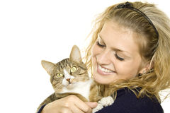 Free Girl And Cat Royalty Free Stock Photos - 16006598