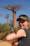 Girl And Chameleon Stock Photos