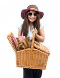 Girl And Dog In Picnic Basket Royalty Free Stock Photo