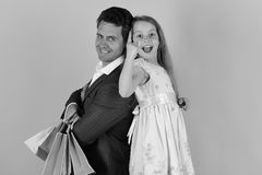 Free Girl And Man With Excited Faces Stand Back To Back Stock Photos - 121478923
