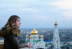 Girl And Religion. Cathedral. Rostov-on-Don. Stock Photography