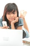 Girl And Technology Stock Image