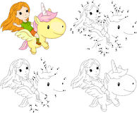 Girl And Unicorn. Coloring Book And Dot To Dot Game For Kids Stock Images