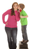 Girl And Young Boy Hold Rose Kiss Cheek Stock Photo