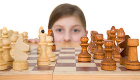 Girl ang chess Royalty Free Stock Image