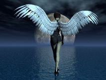 Girl angel. The girl angel, going on water. illustration; 3D Stock Photos