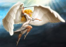 Girl - an angel. Armed with a sword flies in the rays of the sun stock illustration