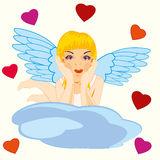 Girl angel on cloud Royalty Free Stock Photography