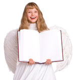 Girl in angel costume with banner book. Stock Images