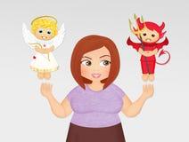 Girl with angel and devil ilustración del vector