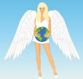 The girl an angel with earth Stock Photography