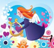 Girl angel flying  Stock Photo