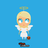 Girl With Angel Halloween Costume Isolated Royalty Free Stock Images