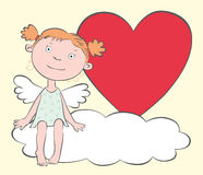 The girl-angel with a heart. The girl-angel with the heart sits on cloud Stock Images