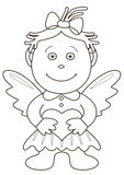Girl-angel with heart, contours Stock Photos
