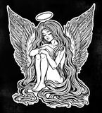 Girl angel with long wavy hair falling down. Young girl with wings of an angel and a halo, long wavy hair falling to the ground. Little holy guardian. Nude Royalty Free Stock Photography