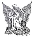 Girl angel with long wavy hair falling down. Young girl with wings of an angel and a halo, long wavy hair falling to the ground. Little holy guardian. Nude Stock Photo