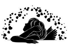 Girl angel in love stock illustration