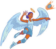 Girl Angel Mascot Spiking Volleyball Vector Cartoon Illustration Stock Photos