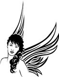 Girl angel tattoo stencil Stock Photos