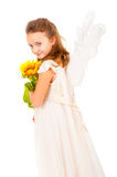 Girl with angel wings. Isolated over white Stock Photography