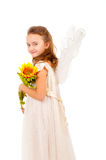 Girl with angel wings. Isolated over white Royalty Free Stock Photos