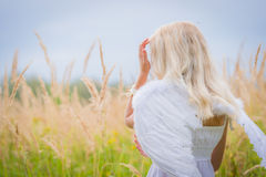 Girl with angel wings on the back Stock Images