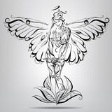 Girl angel with wings of a butterfly. Vector illustration Stock Photo
