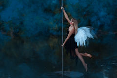 Girl with angel wings circling on a pole dance. Royalty Free Stock Photography